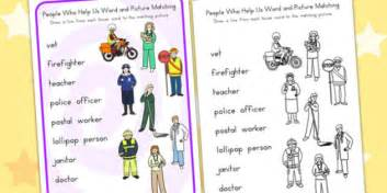 people who help us word and picture worksheet matching sort