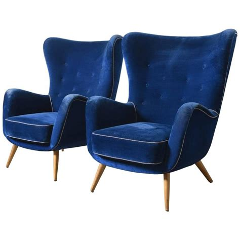 blue velvet wing chair set of two large italian blue velvet wing back easy chair