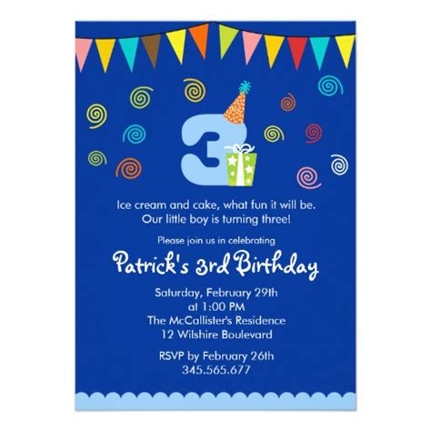3 year birthday card template 3rd birthday invitation templates www imgkid the