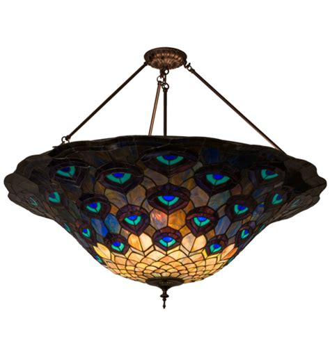 Peacock Ceiling Light by Meyda 139408 Peacock Feather Green Blue