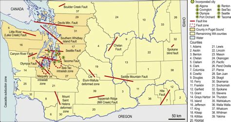 earthquake washington state map of faults and fault zones used as the basis for