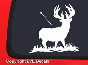 Bow Hunting Window Decals Arrow Headed Toward Deer White Bow Hunting Window Decal