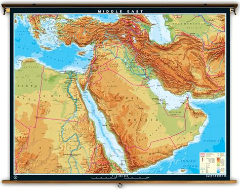 physical map of the middle east klett perthes large physical map of the middle east
