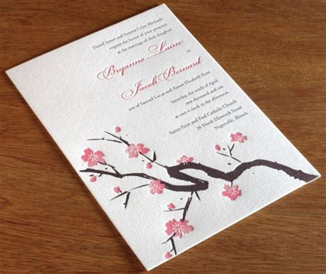 cherry blossoms wedding invitations cherry blossom wedding day inspiration letterpress wedding invitation