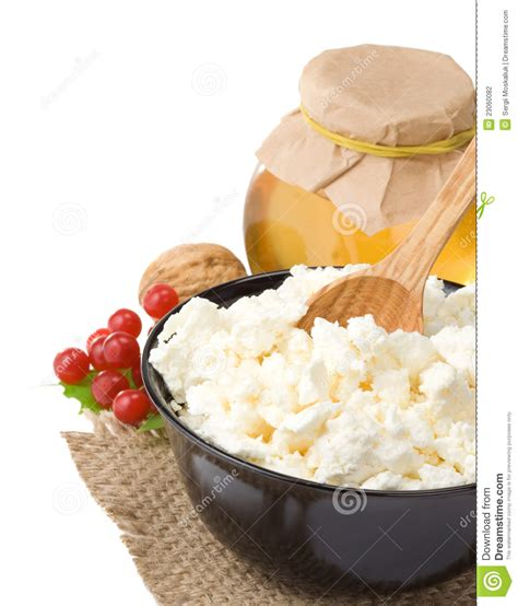 cottage cheese and honey stock photography image 23060082