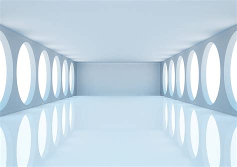 room 3d empty white room with columns and windows 3d illus by