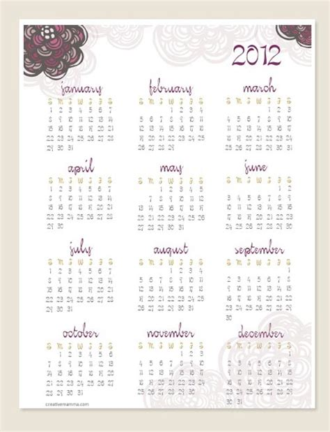 is doodle calendar free creative mamma 187 free printable 2012 one page doodle calendar