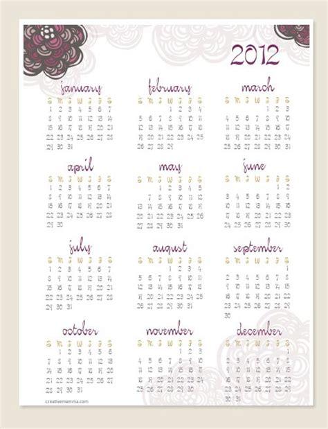 doodle free calendar creative mamma 187 free printable 2012 one page doodle calendar