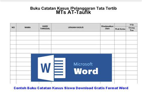 format buku kasus siswa smp contoh buku catatan kasus siswa download gratis format