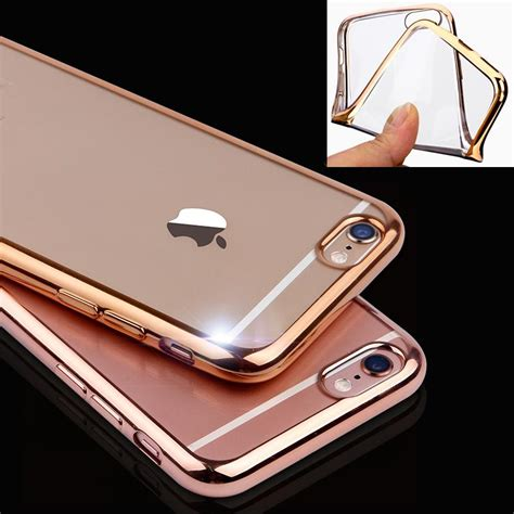 Softcase Ultrathin List Chrome Apple Iphone 6 6s 4 7 In Diskon aliexpress buy ultrathin gold plating clear for iphone 7 6 6s plus 5 5s