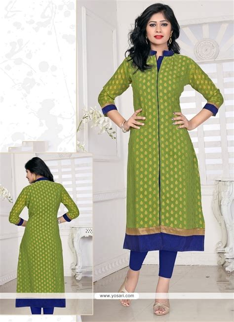 download kurti pattern buy prepossessing lace work viscose green designer kurti