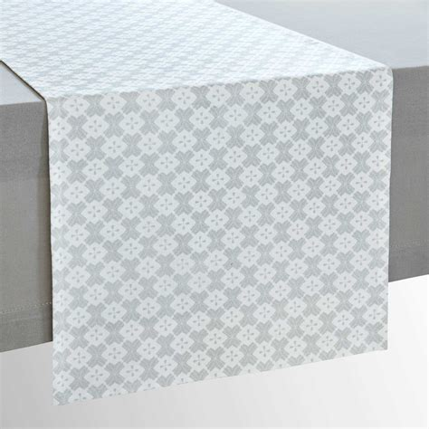 Chemin De Table Blanc Et Gris by Chemin De Table En Coton Motifs Gris Et Blancs L 150cm
