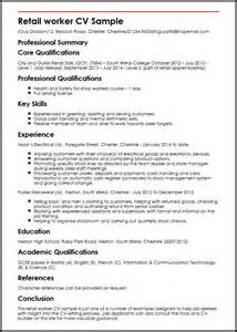 Retail Manager Cv Template Uk by Retail Worker Cv Sle Myperfectcv