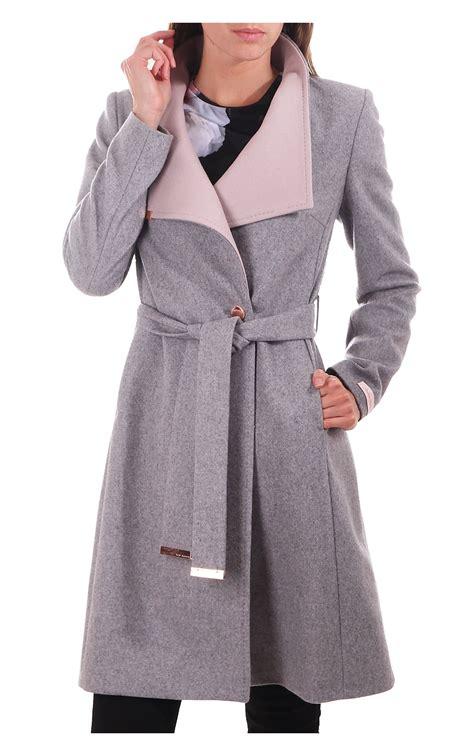 light grey long coat ted baker womens ted baker womens khera contrast long wrap