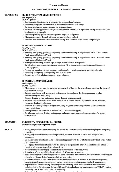 Systems Administrator Resume by It System Administrator Resume Sles Velvet