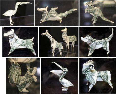 Origami Dollar Animals - fabric origami flower slideshow