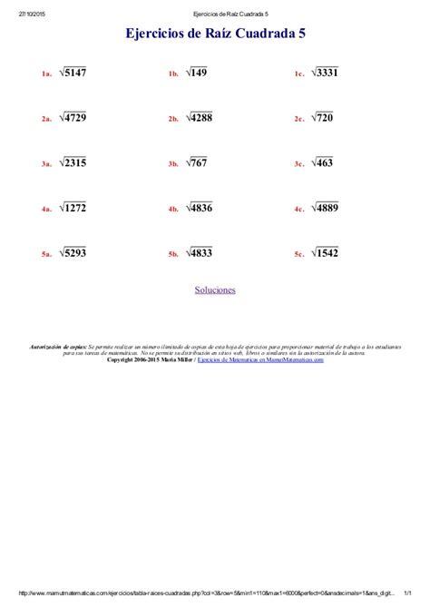 ejercicios de ra 237 z cuadrada 1 - Ejercicio De La Raiz Cuadrada