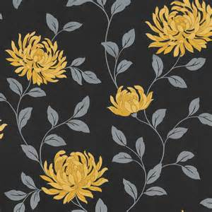 Buy arthouse l amour motif floral wallpaper yellow black