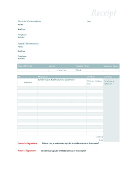 printable receipt for babysitting receipt for child care services free daycare forms quotes