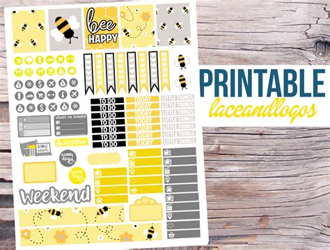 printable bee stickers printable planner stickers bee happy vertical weekly kit