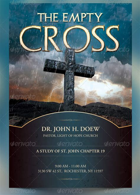 the empty cross church flyer slide and cd template a