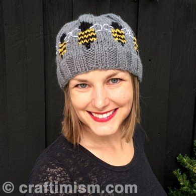 Bee Knit Hat bee patterned knit hat knitting pattern by heidi arjes