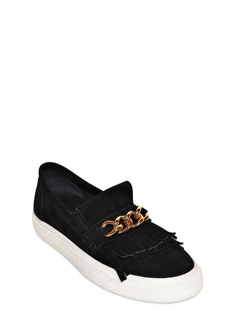 slip on sneakers giuseppe zanotti homme suede and metal chain slip on