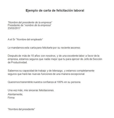 carta felicitacion ejemplo de carta de felicitaci 243 n laboral modelo de carta