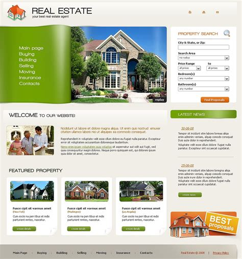 real estate agency website template 21848