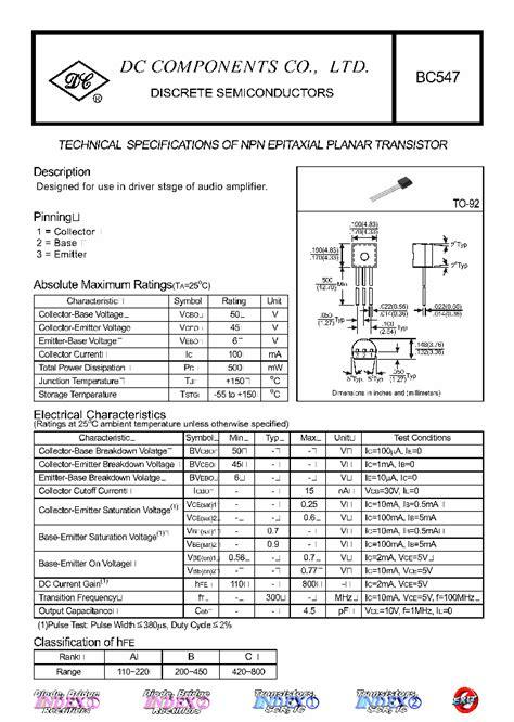 transistor bc547 description bc547 4403292 pdf datasheet ic on line