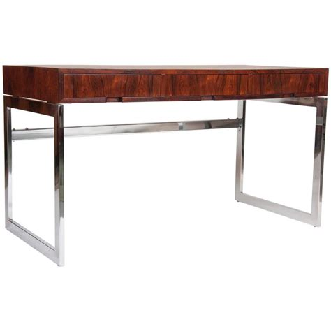 sleek rosewood and chrome desk by milo baughman for sale