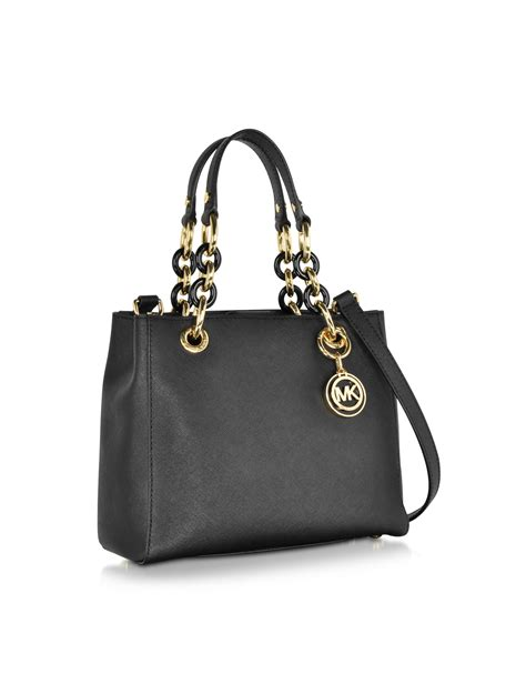 Michael Kors Small Satchel Luggage Ori michael kors cynthia small saffiano leather ns satchel bag in black lyst