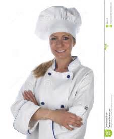 Portrait of a beautiful female chef isolated on a white studio