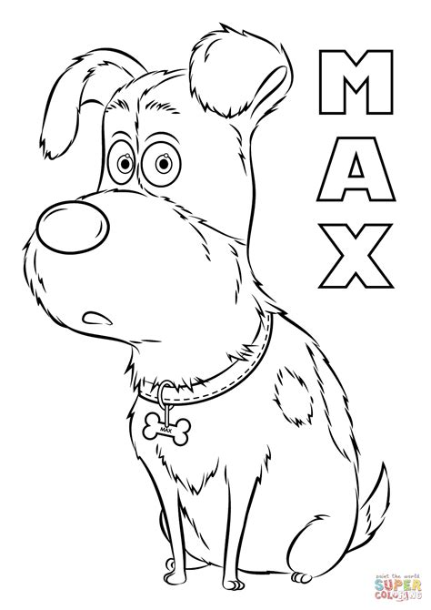 coloring pages pets max from the secret life of pets coloring page free