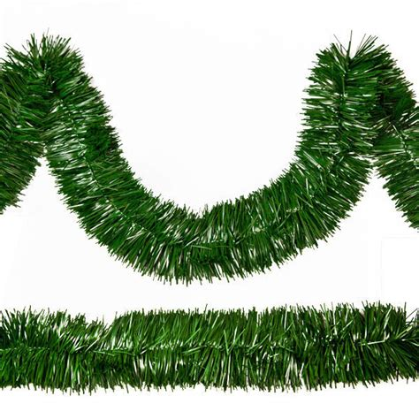 50 ft pine green tinsel garland unlit 1000bulbs com