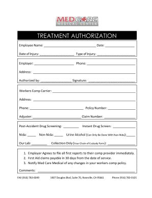 Wcb Release Letter treatment authorization form child