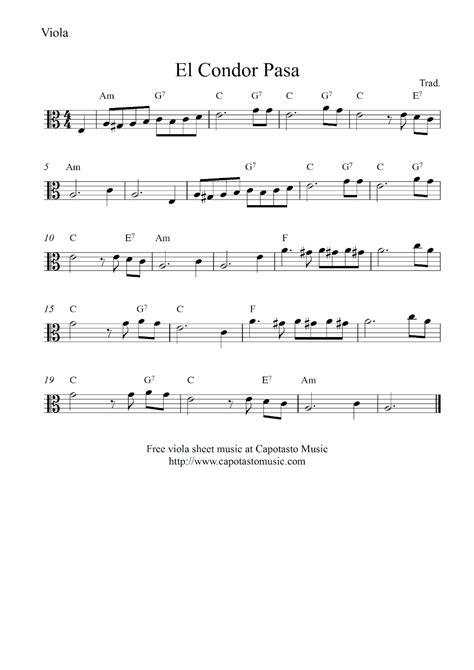 free printable sheet music viola free viola sheet music score el condor pasa