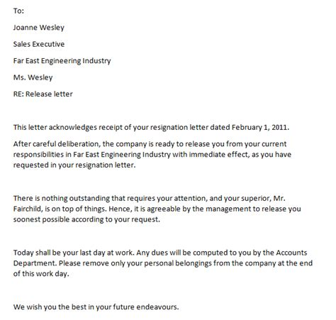 Release Letter From Company Format letter of release from employment writing professional