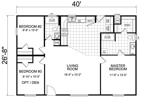 floorplan of a house home 28 x 40 3 bed 2 bath 1066 sq ft house