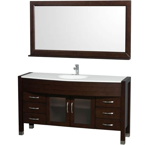 Bathroom Vanities Single Sink Wyndham Collection Daytona 60 Modern Single Sink Bathroom Vanity W Mirror Espresso Wc A