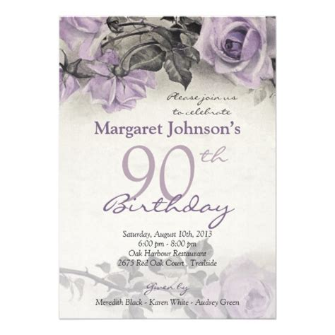 90th birthday invitations templates vintage sterling silver purple 90th birthday 5 quot x 7