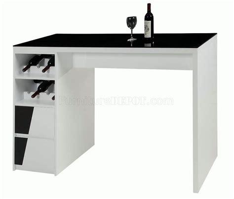 bar top tables black top white gloss base modern bar table w wine storage