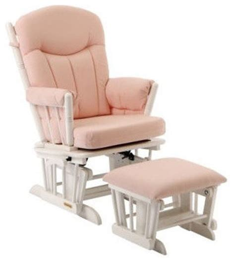pink and white glider chair glider and ottoman set in pink gingham and white