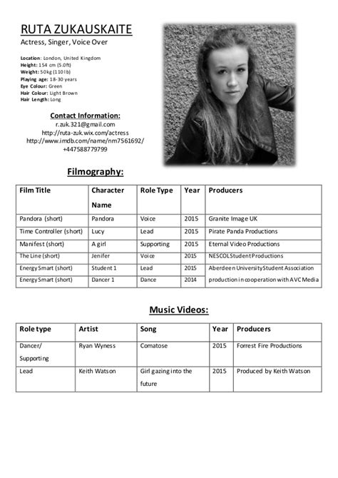 actor cv template ruta zukauskaite acting resume