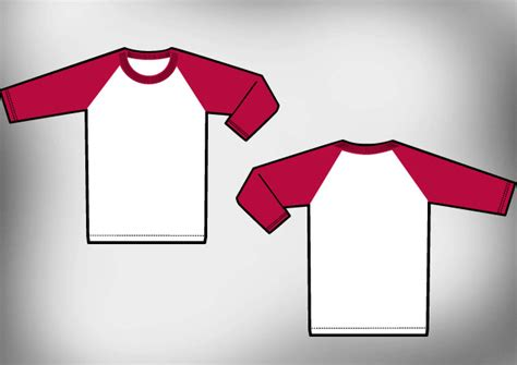 Kaos Ringer Grey Smile raglan t shirt template vector free t shirt template
