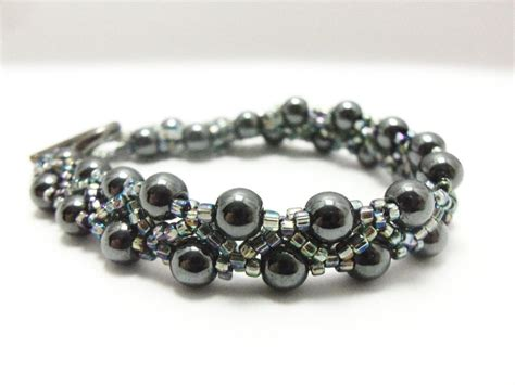 Hematite Bracelet   Beaded Jewelry   Beaded Bracelet   Grey Jewelry   7 1/4 Inches   Gray on Luulla