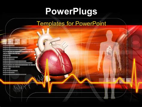 Powerpoint Template Red Human Heart With Ecg Waves And Huan Body Over Dark Background 16772 Human Powerpoint Template