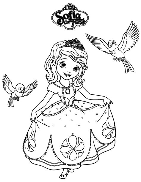 Sofia The First Robin And Mia Coloring Page H M Princess Sofia Coloring Pics