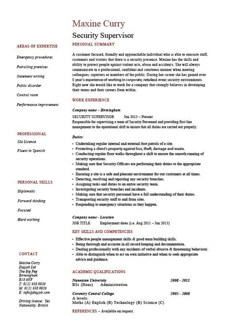 security supervisor resume sle exle patrol description cctv checking visitors safe