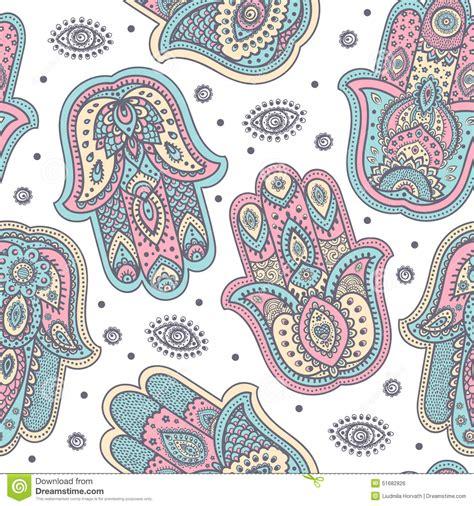 vector indian hand drawn hamsa seamless pattern stock